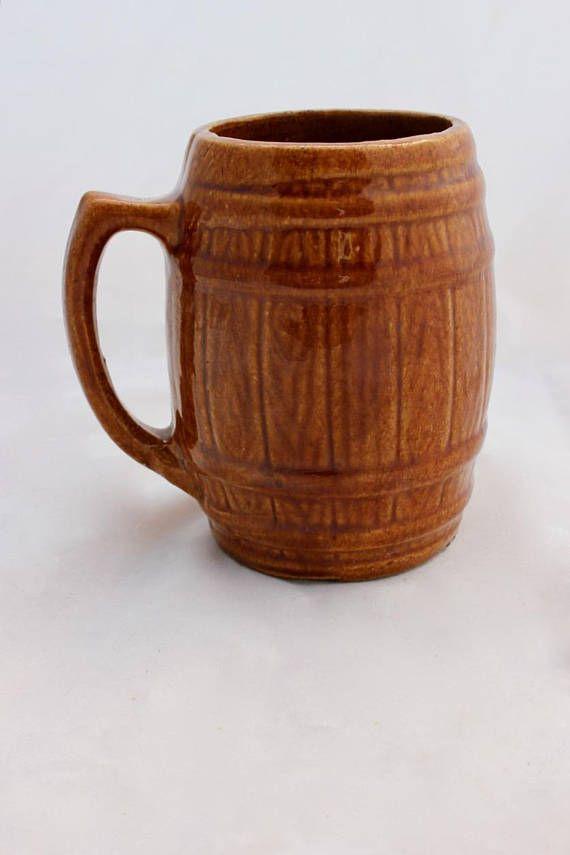 Vintage Jug with Handle Barrel Shaped Studio Pottery