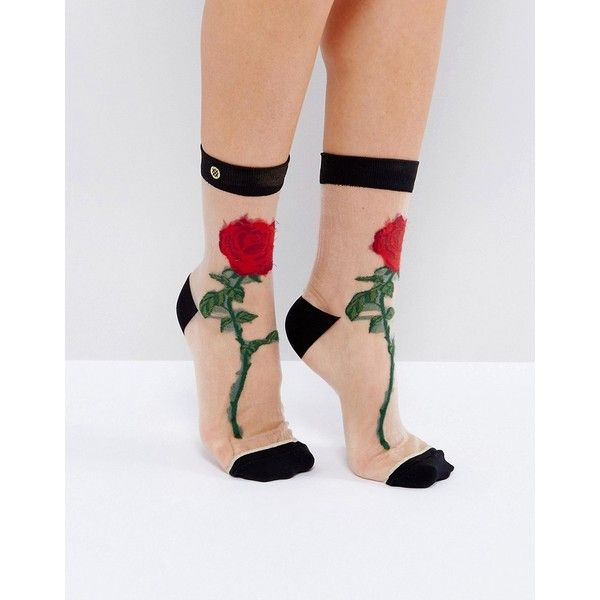 Socks by Stance, Sheer fabric, Ribbed cuffs, Rose detail, Ankle length, Hand wash, 72% Nylon, 11% Elastane, 10% Polyester, 6% Elastic, 1% Lurex Metallic Fibre.…