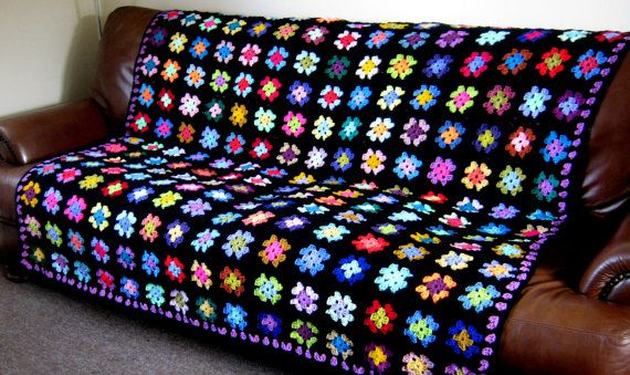 Retro Crocheted Granny Squares BLANKET Afghan by Thesunroomuk