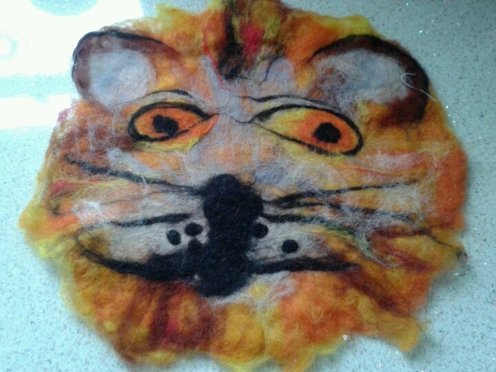 Friendly felty tiger, destined to adorn a cushion some day....