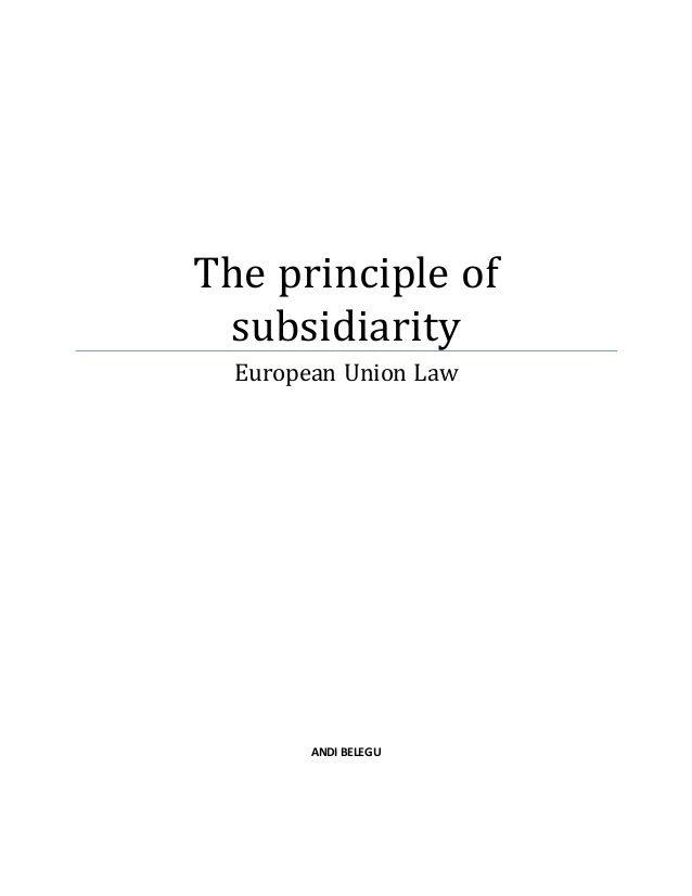 The principle of subsidiarity European Union Law ANDI BELEGU