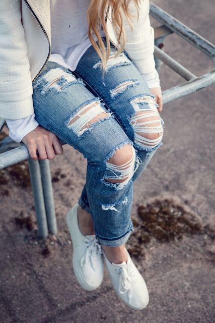 DIY shredded jeans: