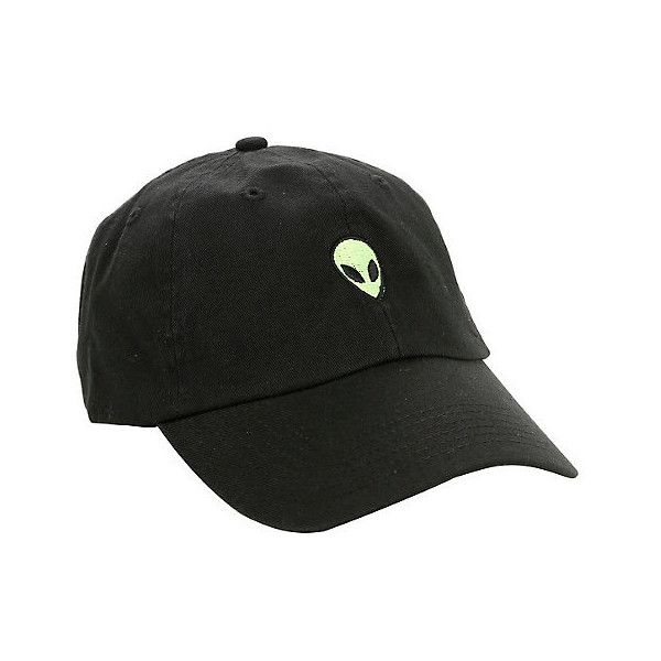 Black Alien Embroidered Dad Cap Hot Topic ($15) ❤ liked on Polyvore featuring accessories, hats, embroidered ball caps, cotton baseball hats, cotton cap, embroidery hats and embroidery caps