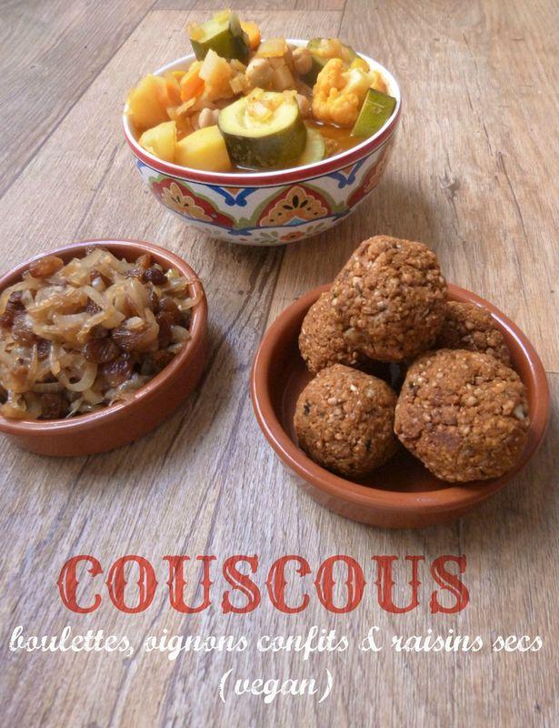 Couscous aux boulettes de sarrasin, oignons et raisins secs confits (vegan)
