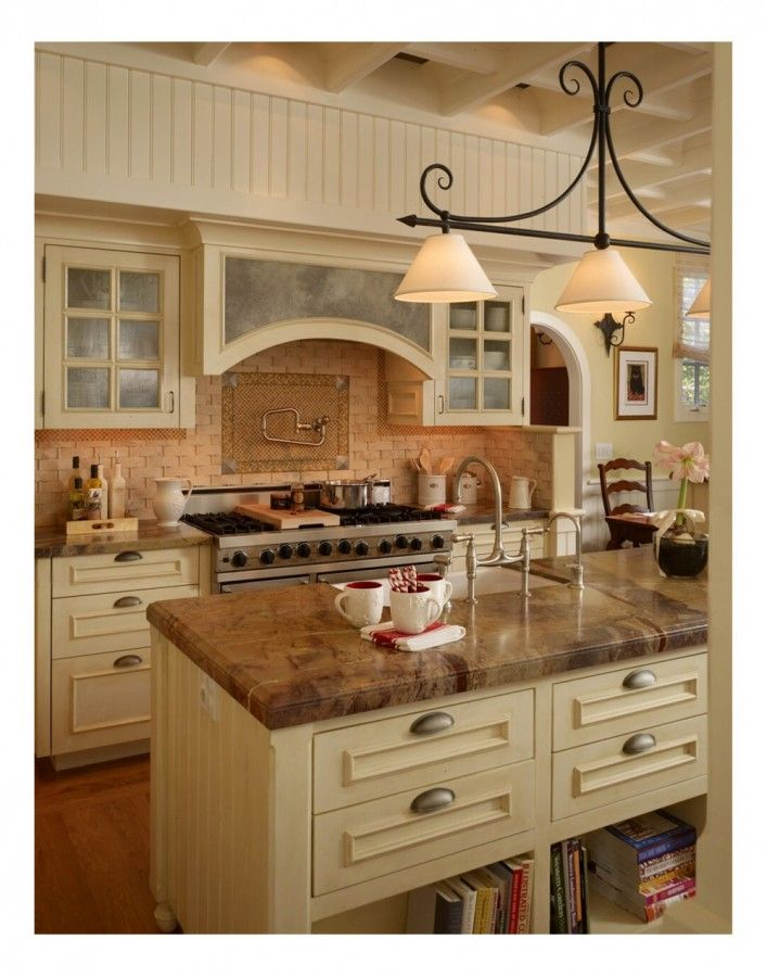 Extraordinary Tudor House Modern Interior Design Ideas With Beige Color Kitchen Island And Brown Marble Countertop