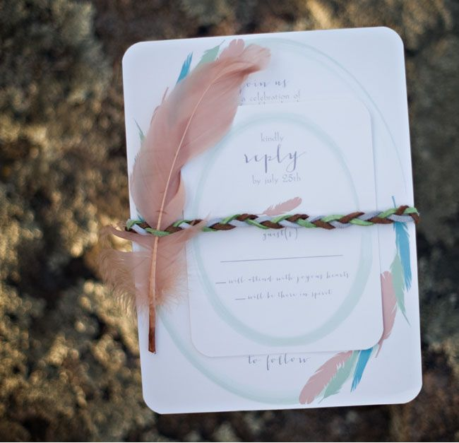 Feather wedding invitation, Paper goods by Sweet Paper - Boho feather wedding inspiration, Photography: Bethann Greenberg Photography, Brooke Allison Photography, Christina Dely Photography, Alisha Cryderman, Whitney Bower Imaging