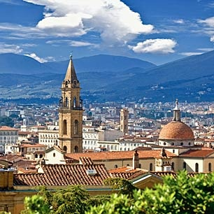 Florence, Italy, one of my favorite cities in the world.  Breathtaking art, sculpture, architecture.  A river runs through it...I want to go back and spend at least one week!