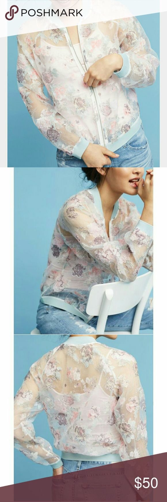Maeve textured bomber jacket Light and airy, this spring-ready bomber is inspired by watercolor paint, with an all-over textured floral pattern in the pretty pastels that define the season.  Sheer viscose, polyester Zip front Hand wash Only worn once Anthropologie Jackets & Coats