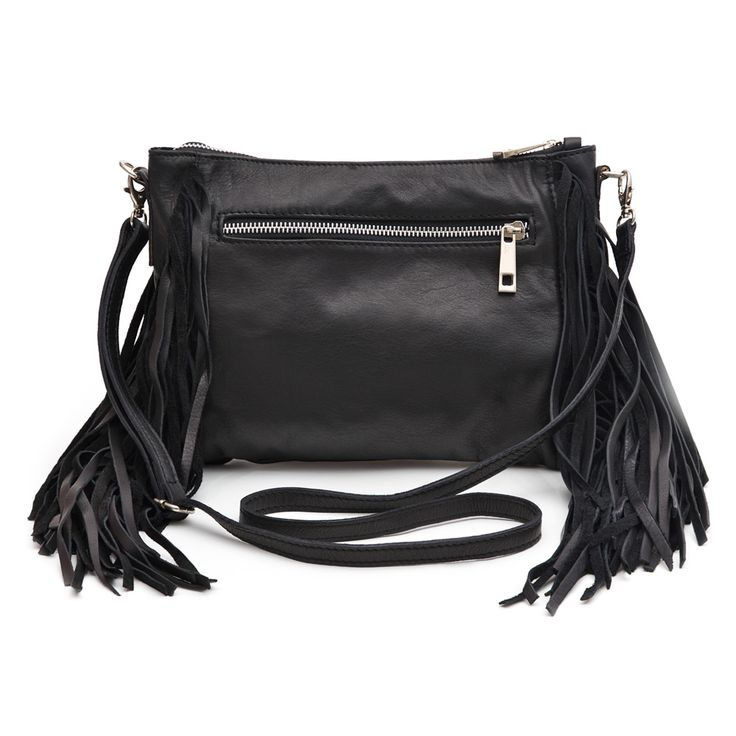 MARLAFIJI MADE IN ITALY - Amanda Black Tassel Italian Leather Clutch Shoulderbag
