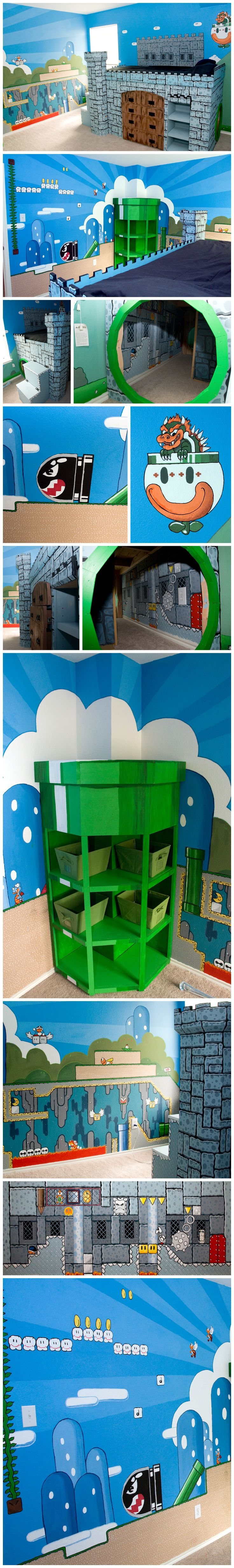 Super Mario World Kid's Bedroom with custom built Castle Bed, complete with pipe tunnel into the Castle Level. Great Video Game Themed Room. #mario #nintendo #mural