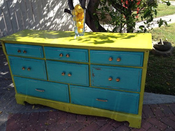 Dresser Distressed In Fun Key Lime Green And By VintageVogueByJess