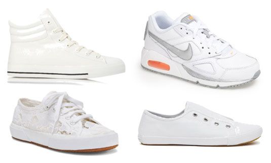 These all-white sneakers look great with anything.