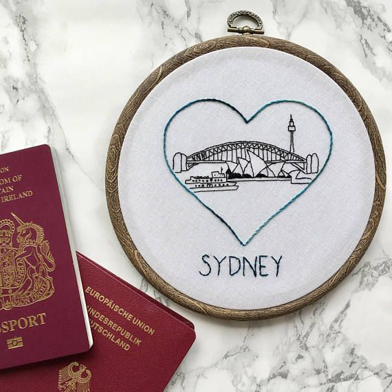 Australian honeymoon souvenir decor  Sydney skyline hand