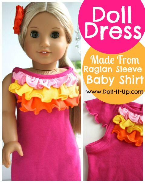 Sewing tutorial with step by step instructions to repurpose a baby shirt and make a doll dress!