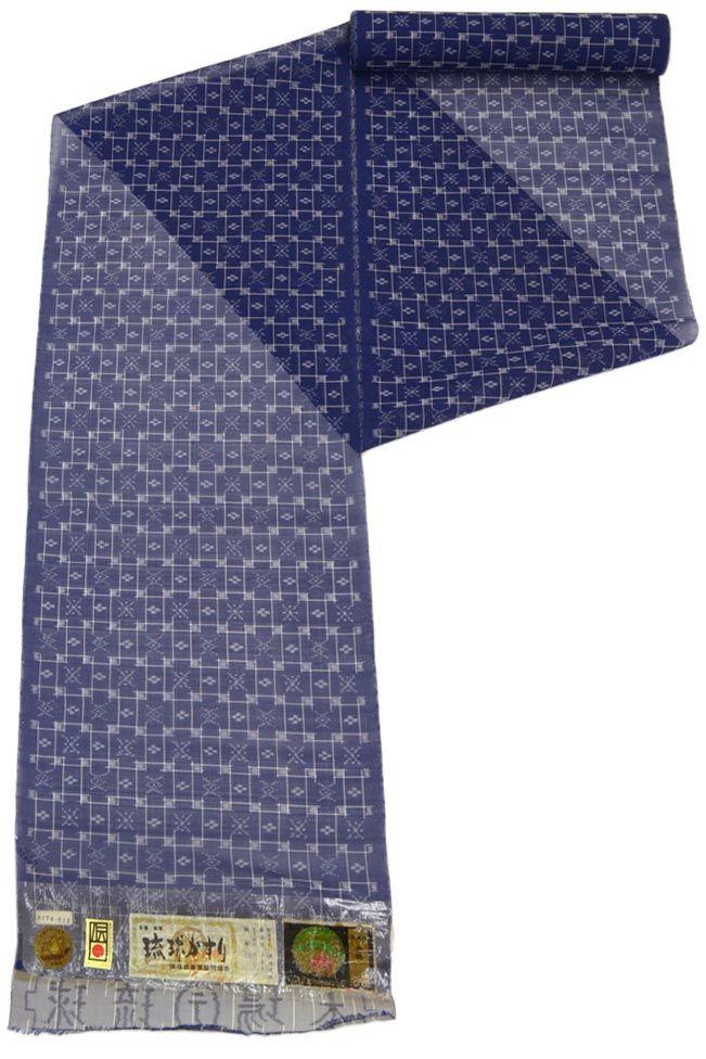手織り壁上布 大城誠光「琉球格子・藍」