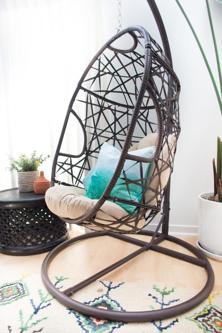 OMG We're Coming Over: Shameless Maya's Loft Makeover | Details: Egg chair and some aqua pillows for cool comfort!