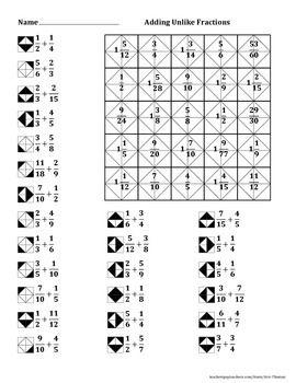 adding unlike fractions color worksheet elementary math pinterest fractions worksheets. Black Bedroom Furniture Sets. Home Design Ideas