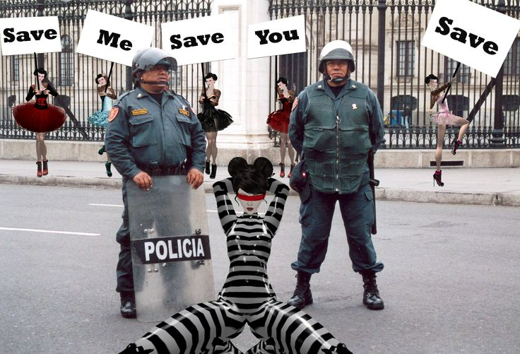 The fierce protest of several of my sisters, who endangered their own freedom by just showing up with large Save Me, Save You protest signs could not prevent me from being arrested, muted, derendered, banned and ejected from Peru... Read more here: http://savemeoh.wordpress.com/2013/09/09/catwalk-to-disaster/