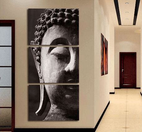 """""""Silent Wish"""" Modern Tranquility Buddha Canvas Painting"""