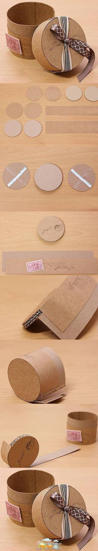 DIY Petite boîte en carton ronde http://www.weibo.com
