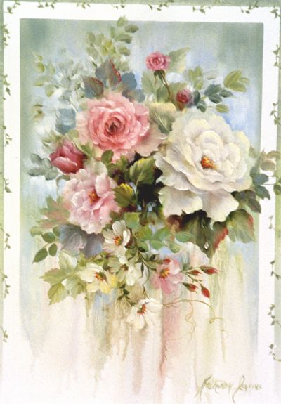 Handpainted Roses with Vine Border by Kathwren Jenkins.