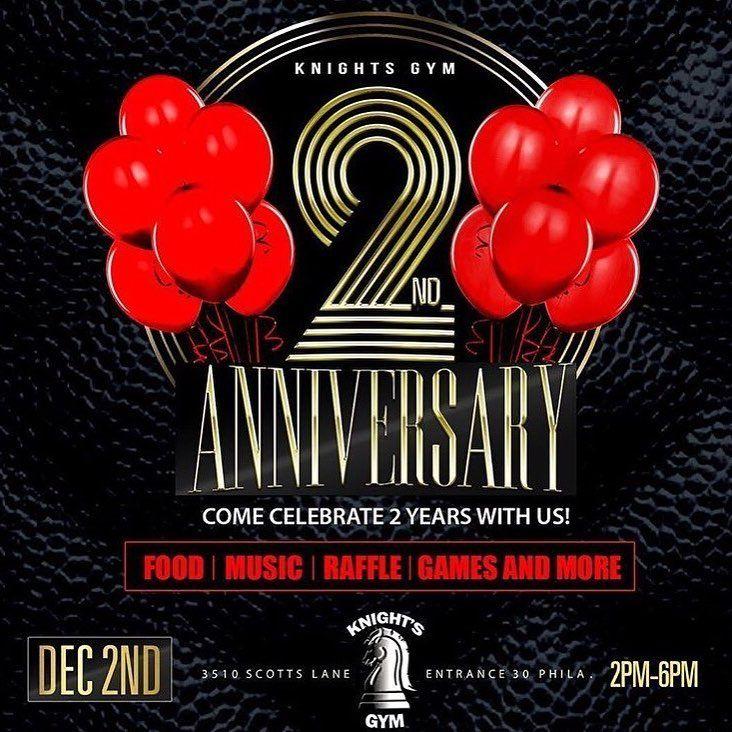 @knights.gym 2ND YEAR ANNIVERSARY CELEBRATION  _ DEC 2ND 2PM - 6 PM DISCOUNTS ON FOOD  AND SMOOTHIES AT OUR JUICE BAR  _ INITIATION FEE FOR ALL NEW SIGN UPS  _ LIVE DJ @dj_headrush ... RAFFLE TICKETS FOR FREE MONTH MEMBERSHIPS AND MORE... _ @phillygainz WILL BE SAMPLING OUT THEIR AWESOME SUPPLEMENTS AND MORE... _ 3510 SCOTTS LANE PHILA PA 19129 _ #bodybuilding #powerlifting #knightsgym #fitnessgym #harsdcoregym #motivationgym #knightsgymmotivation #gainsgym #globalisthegoal #knightsgymphilly…
