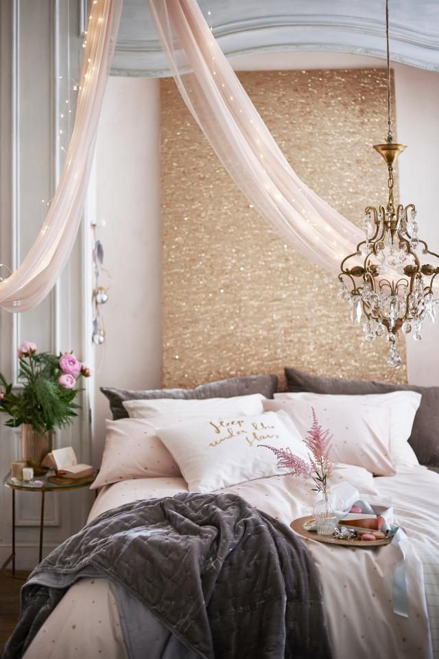 Sparkly bedroom #h&mhome #sparkly #bedroom #pink #gold