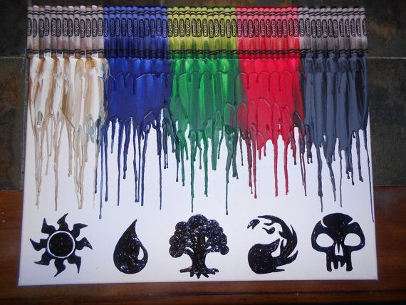 20 x 16 Canvas  Crayons in Gold, White, Blue, Green, Red, Gray and Black melted down from the top.  Hand painted Silhouettes  Painting is sealed