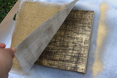 spray painting through burlap! Love the texture!