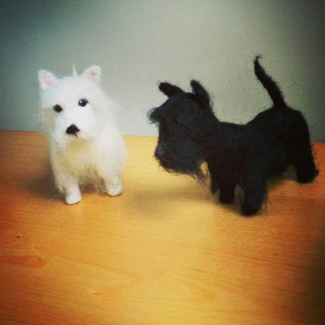 Needle felted Westie and scottie made by Alison rumbles www.etsy.com/shop/CraftBirds