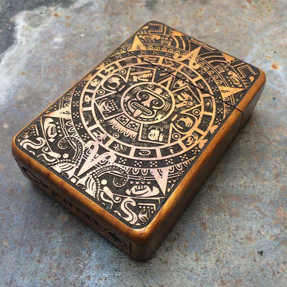 Check out Mayan Calendar Java Teak wooden Cigarette Case, Cigarette Box, Cigarette Holder, Card Holder on cigarettoss