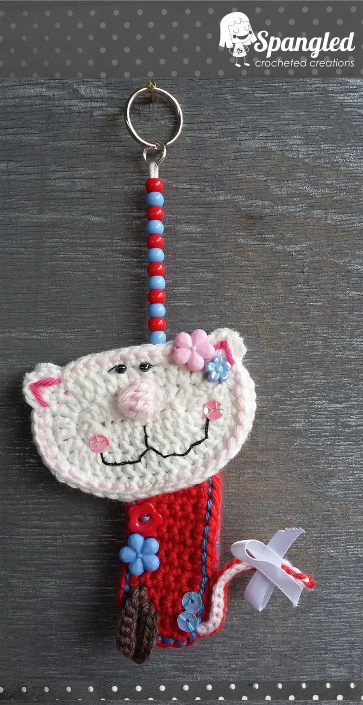 Cat Crocheted Keychain by SpangledCrochet on Etsy