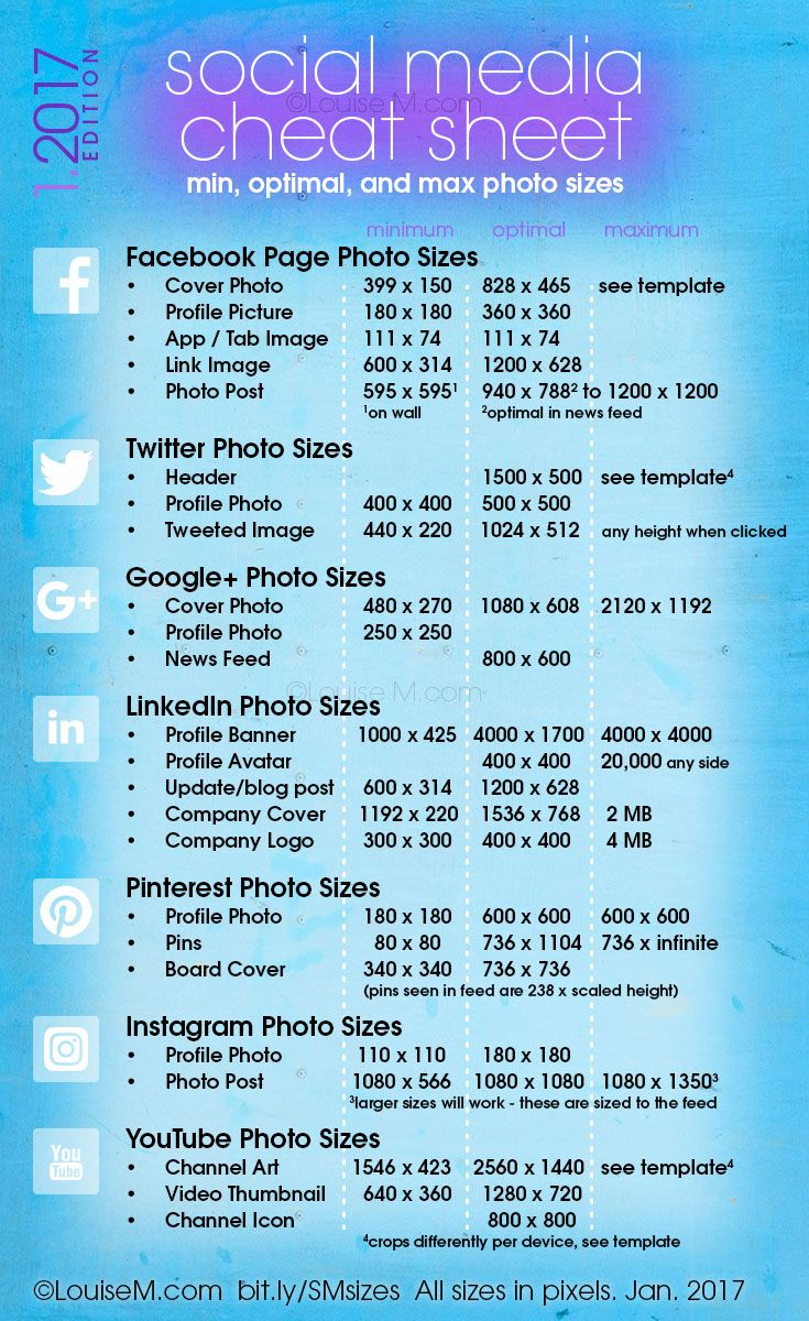 Updated! Social Media cheat sheet with image sizes for Facebook, Twitter, Google+, LinkedIn, Pinterest, Instagram, YouTube. Click to blog for your free printable! And more social media marketing tips for your small business.