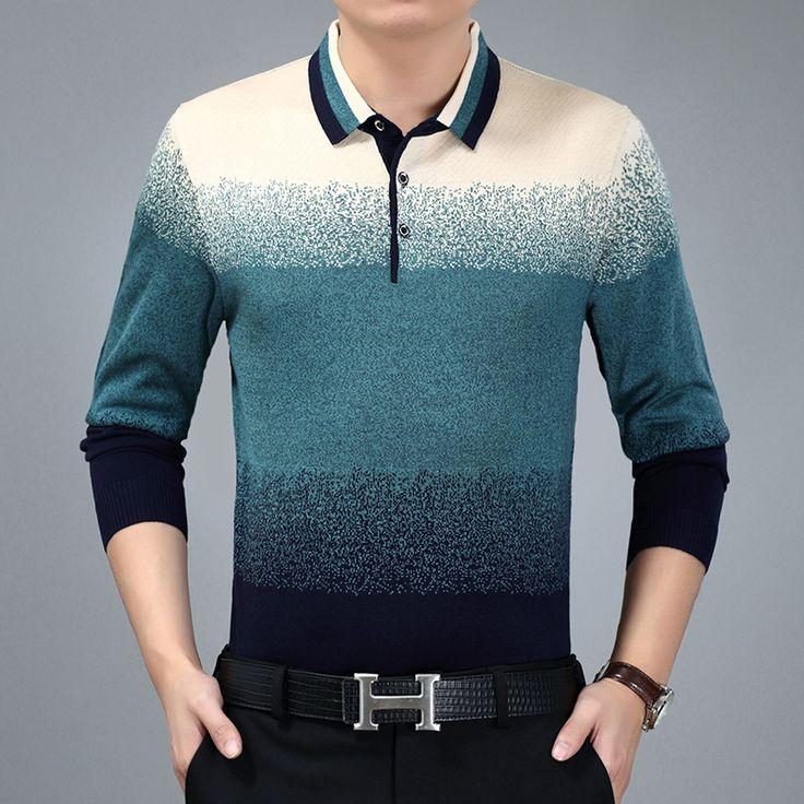 2017 turn-down gola de malha t-shirt dos homens de meia idade papai clothing pai tshirt homme masculino stripe manga comprida undershirts 3xl