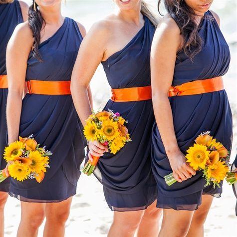 Cute Navy and Orange Bridesmaid Dresses
