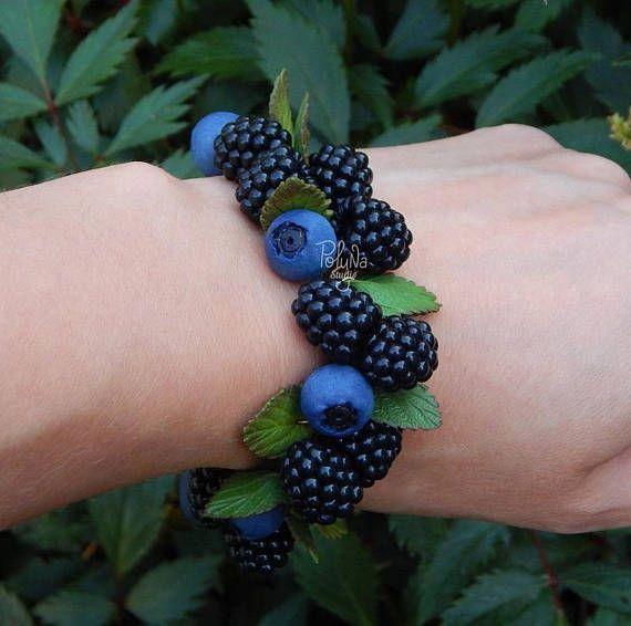 Forest Berries Blackberry Blueberries Charm Bracelet