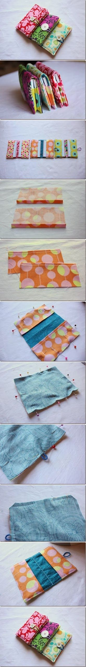DIY : Sew Business Card Holder, but you can also use as a book cover if you change the dimensions of the pirced of cloth.