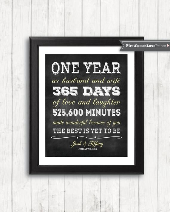 Chalkboard Style First Anniversary Gift For Husband For Wife Etsy First Anniversary Gifts 1st Anniversary Gifts For Him Wedding Anniversary Photo Gifts