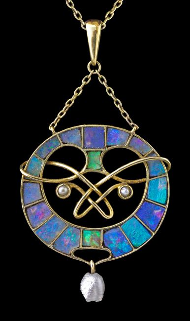 ARCHIBALD KNOX 1864-1933 -   Rare Liberty & Co Pendant - Gold,   Opal, Pearl. British, c.1900.