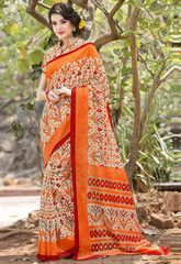 Cream & Orange Color Bhagalpuri Casual Party Sarees : Nitima Collection  YF-41756