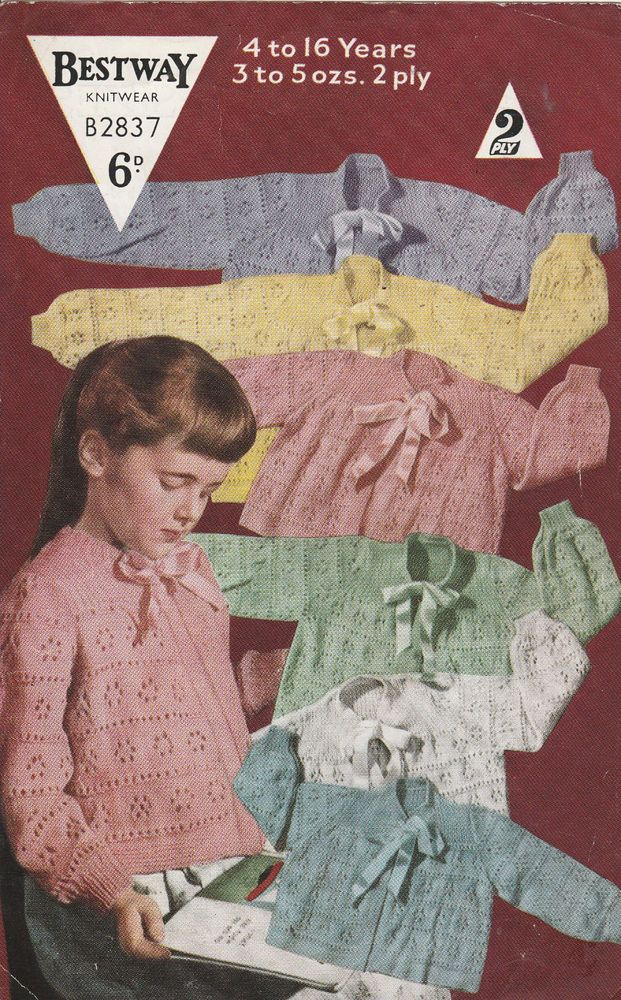 ac9090a5b4d6 ww11 40 S Vintage Knitting Pattern BESTWAY 2837 GIRL S BED JACKET 22 ...