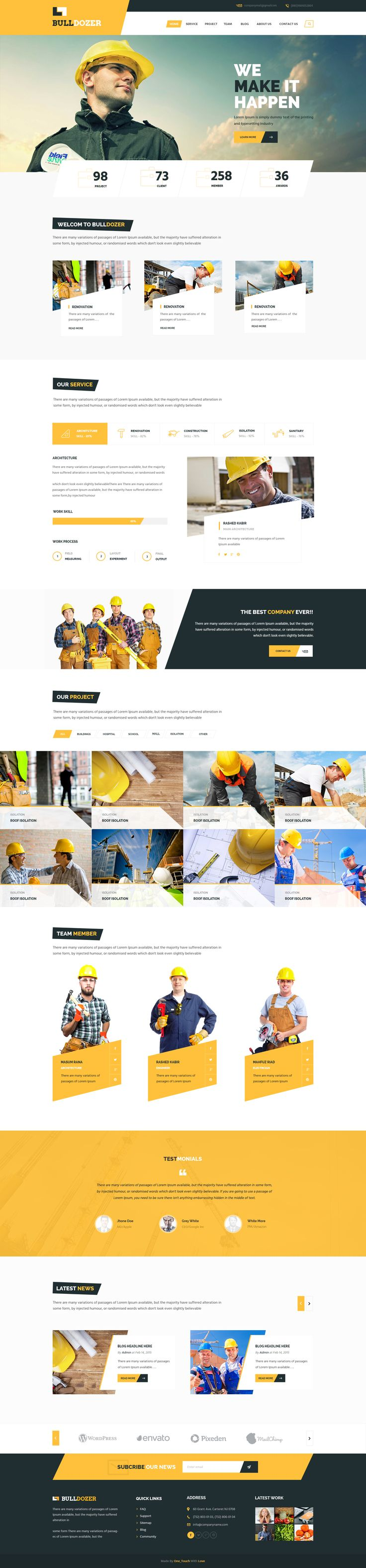 Clean and simple web design for a construction website designed by Masum Rana, via Dribble.                                                                                                                                                      More