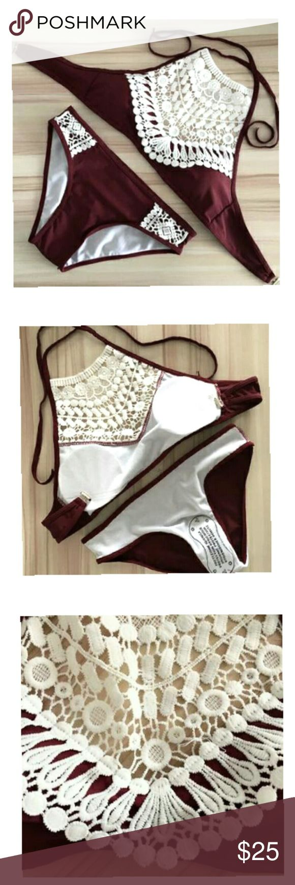 Crotchet swimsuit Brand new  Two piece set  True to size   Top: - Ties in the neckline like a halter top -Clips in the back for the closure -Crotchet design on too -Padded -Padding is removable  -Lined  Bottoms: -Regular coverage - Lined -Has hygienic liner -Crotchet design too Swim Bikinis