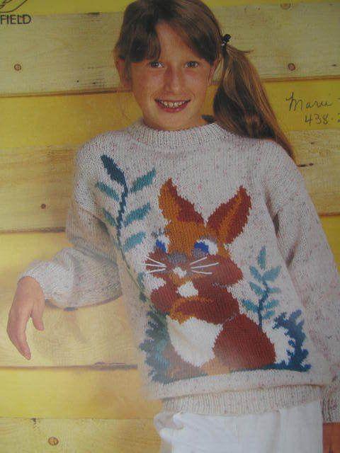 SeeSallySew.com - Bunny Rabbit Design Knit Knitting Crew Slash