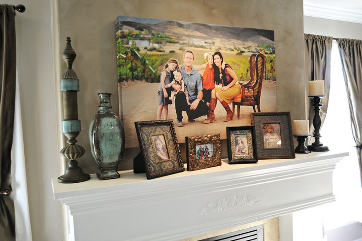 images of family picture over fireplace | Decorating with Portraits at Peekaboo Photography - Capturing Joy with ...