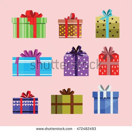 gift box birthday set present with different pattern. vector illustration 60