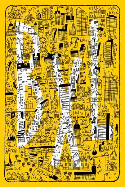 Philippe Doro : Brussels map, BXL Postcard. Carte postale, plan de Bruxelles.
