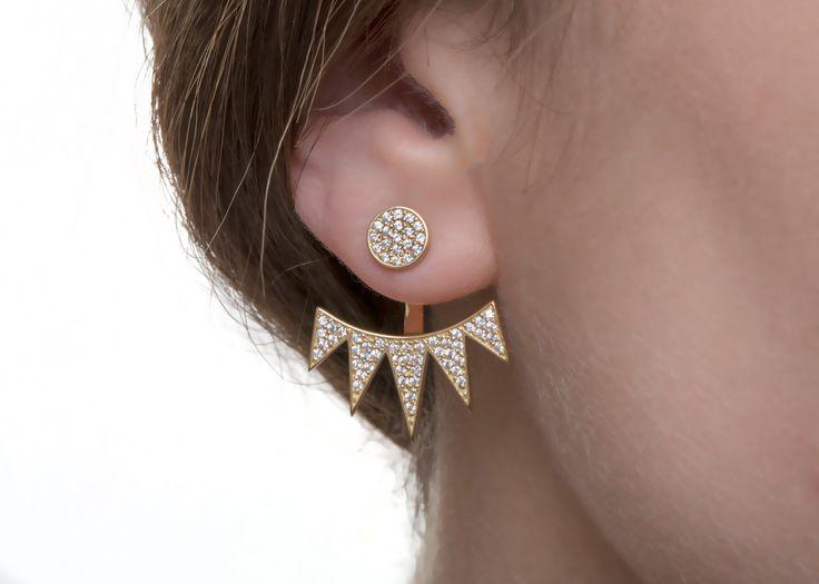 14k Jacket Earrings, Crown Gold Earrings, DIAMOND rings Set, Solid Gold, Goldsmith Workshop creation, 18k diamond earrings, 18k jacket gold earrings, etsy earrings, diamond jewelry, Danelian Jewelry