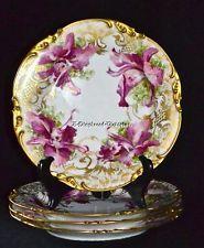 4 incrível Antigo Art Nouveau Limoges Ouro Orquídeas Pouyat 1906 Marcas # 5/9 Placas