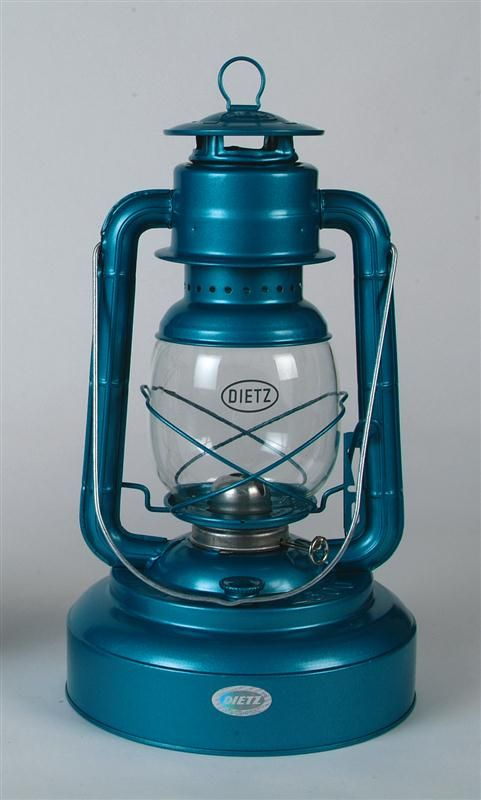 """Dietz Jupiter Hurricane Oil Lantern Blue and Black..both 26.95.. The Jupiter has a giant 84 oz tank: use it every night for two weeks without refilling! It's an ideal light for evening chores or as a heat source in your greenhouse. Output: 3.9 cp., burns: 72 hrs. Tank: 84 oz. Size: 15""""H, 2-3/4 lb"""